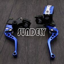 "NEW 7/8"" Motorbike Handlebar Hydraulic Brake Master Cylinder Clutch Lever Blue"
