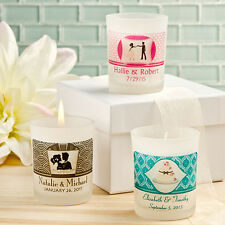 75 Personalized Frosted Candle Glass Wax Wedding Party Event Favors For Guest