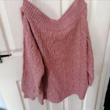 George Off The Shoulder Jumper Sweater Pink Salmon Cold Shoulder Medium (12-14)
