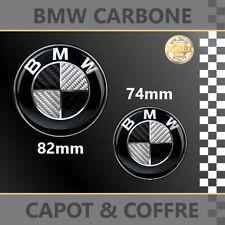 2 LOGO BMW CARBONE NOIR 82MM + 74MM BMW SERIE 3 E46 COUPE ET BERLINE
