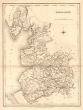 Antique county map of LANCASHIRE by Walker & Creighton for Lewis c1840 old
