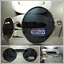 VINTAGE 50's RETRO Style STEAMPUNK CYBER Round Blinder SUN GLASSES Silver Frame