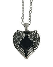 Black Stone Wing Heart Necklace Pendant Punk Jewelry Lolita Goth Cosplay Metal