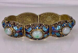 Chinese Sterling Silver Enamel Filigree Jade Cabochon Bracelet - 84839