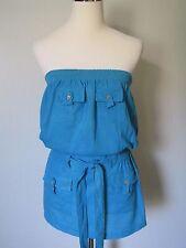 Jamie Nicole Col. Blue Linen Blend Elastic Waist Strapless Mini Dress NWOT SZ: S