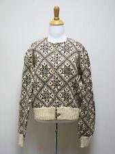VTG Unisex Brown Ivory Handmade Handknit Scandinavian Cardigan Snowflake SZ M/L