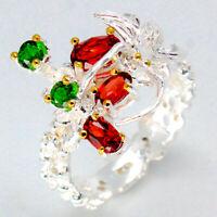 Beautiful women jewelry Natural Garnet 925 Sterling Art Silver Ring / RVS79