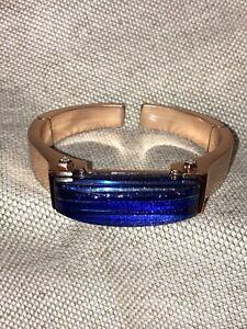 Kendra Scott Kailey Blue Goldstone Rose Gold Hinged Cuff Bracelet