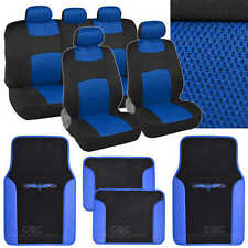 9 Pc Sporty Mesh Cloth Blue / Black Seat Cover and 4 Pc PU Blue Carpet Mats