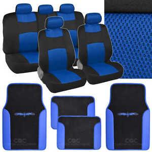 9 Pc Sporty Mesh Cloth Blue / Black Seat Cover and 4 Pc PU Blue Carpet Mats