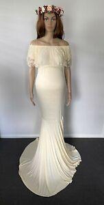 Cream Off Shoulder Maternity Dress Gown - Photo Shoot Pregnant Prop