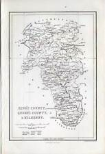 King's County-Queen 's County & Kilkenny-IRLANDA-IRELAND-Map - Mappa-ACCIAIO CHIAVE 1840