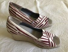Toms Women's Summer Slip Ons Heels Cork Wedge Red &  White Espadrilles Size 11