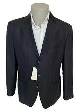 Giacca estiva uomo Confitalia, tg 52 blu a righe marroni in fresco lana e lino.