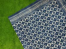 9x12 ft Vintage Indigo Blue Rug Dari Cotton Handmade Woven Carpet Area Floor Rug