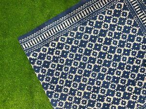 Blue Indigo Cotton Block Print Accent Area Dhurrie Rug Woven Weave Indian Carpet