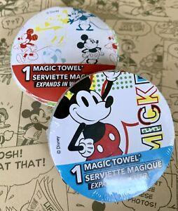 "Disney MICKEY MOUSE, Magic Towels 11.5"" X 11.5"" Washcloth, 100% Cotton Set/2-NEW"