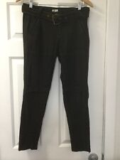 NEW Free People Goat Leather Pants Size 27 Brown Belted Skinny Leg