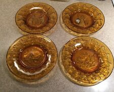 TIARA Nursery Rhyme Amber Gold Embossed Glass Child's Plates Lot of 4 New w/Tag
