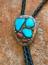 Navajo Sterling BOLO TIE w/Turquoise & Coral