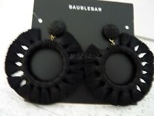 BaubleBar Black Adrita Thread Wrapped Beaded & Tassel Hoop Earrings