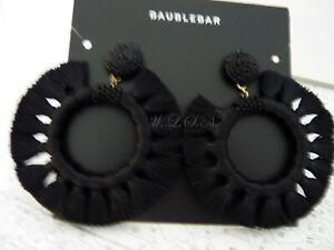 BAUBLEBAR  Black Adrita Thread Wrapped Beaded & Tassel Hoop Earrings