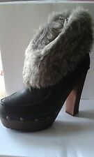 Ladies womens size u.k 3 black faux leather fur cuff ankle shoe platform boot
