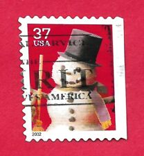 USPS 37 cent postage stamp COMMEMORATIVE SNOWMAN w/top hat/broom 2002