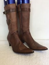 PIED A TERRE TAN BROWN LEATHER CALF LENGTH HEELED BOOTS SIZE 5/38