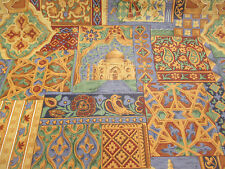 "Patchwork Indian Design ""Taj"" Printed 100% Cotton Curtain Fabric- By Prestigious"