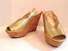 Jessica Simpson Platform Wedge NEW High Heel 9.5M Gold Leather Landi Prom Party