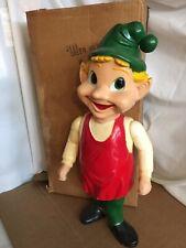 "Vtg Elf Gnome Union Product Christmas Blow Mold 22.25"" Tall Hard Plastic W/ Box"