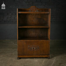 1940's Carved Oak Bookcase with Cupboard