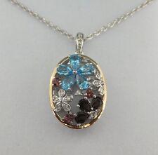 PLATA DE LEY / 14k ORIGINAL Piedras Preciosas & Diamante Ovalado Colgante Con