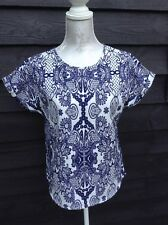 Boxy Baggy Blouse top with turned up Navy Blue & White Floral - UK 10  A15