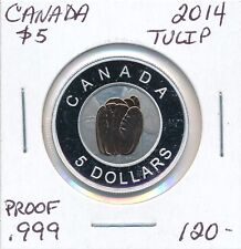 "CANADA 5 DOLLARS 2014 ""TULIP""  -  PROOF .999  SILVER"
