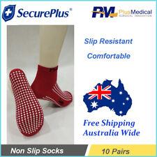 10 X SecurePlus Slip Resistant Red Non-Slip Socks for Hospital Age Care New