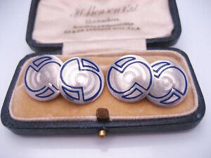 Antique Art Deco era 14K White Gold GF Cufflinks Blue Cloisonne Enamel Line Art