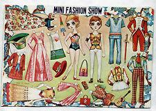 Vintage MINI FASHION SHOW paper dolls 1970s uncut/unused MOD Granny/Flower Child