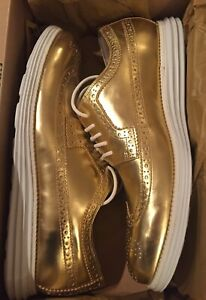 Cole Haan Lunargrand Wing Tip Gold Size 11.5