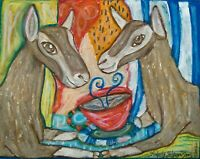 TOGGENBURG Drinking Coffee Dairy Goat Outsider Vintage Art 8 x 10 Print Signed