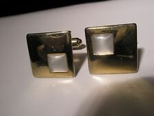 Vintage Quality Cuff Links gift White Stone & Gold Tone
