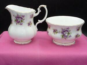 "Royal Albert Bone China Cream & Open Sugar Bowl Set ""Sweet Violets"" Pattern"
