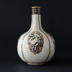 BOCH FRÈRES Gres Keramis Art Pottery Vase by CHARLES CATTEAU, D.914, Circa 1930s