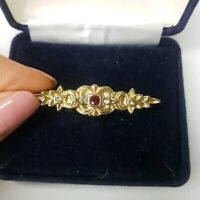 Vintage Diamante Red Gold Tone Bar Flower Brooch Costume Jewellery Pretty Paste