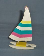 Vtg Midwest Christmas Tree ORNAMENT Wood SAILBOAT Boat Miniature Wind Surf Board