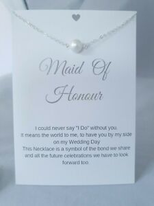 Maid of Honour Wedding Gift Faux Pearl Necklace With Keepsake  Card  Bride UK