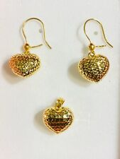 18K Fine Saudi Real Gold Set Heart Earring & Pendant USA Seller