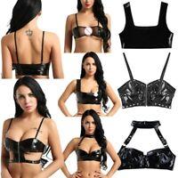 Women's Lingerie Fashion PU Leather Bralette wire-free unlined Bra top Crop Tops
