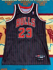 Vntg🔥 Nike Nba Chicago Bulls Michael Jordan Pinstripe Authentic Jersey 48 Black